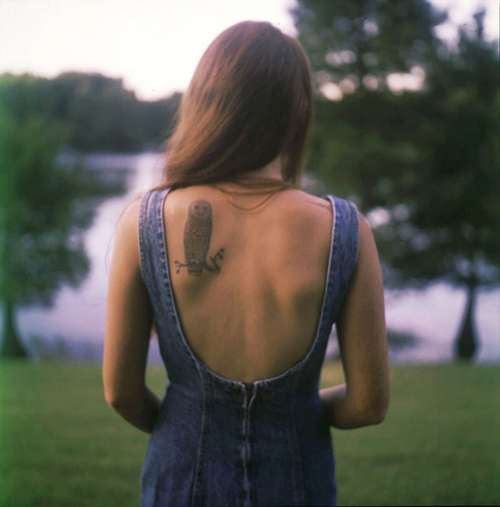Back owl tattoo