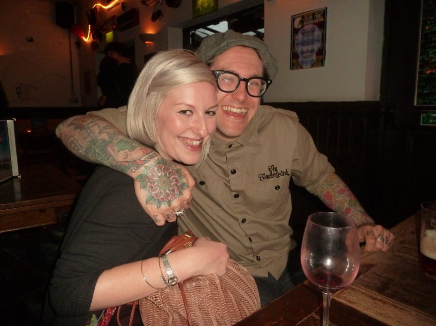 Alice Th'ink and Matt Lodder - in the pub for an apres-talk vino