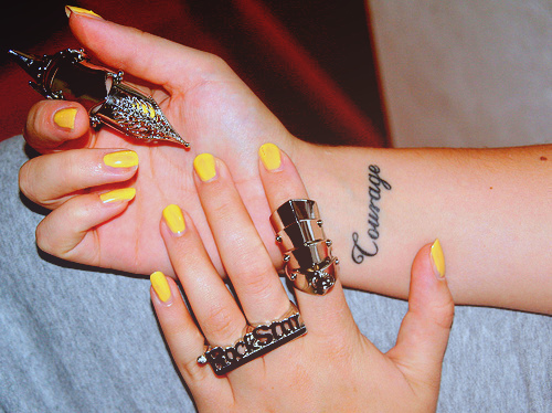 hands, nails, courage tattoo