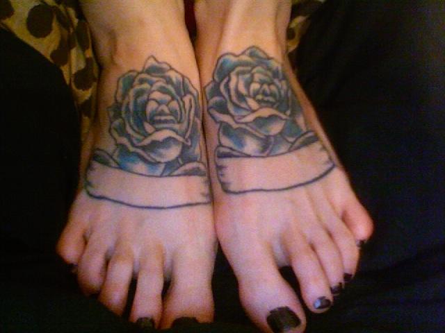 Rose feet tattoos