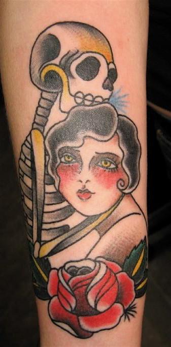 Girl with skeleton by Jessica Swaffer - Third Eye Tattoo, Melbourne Australia