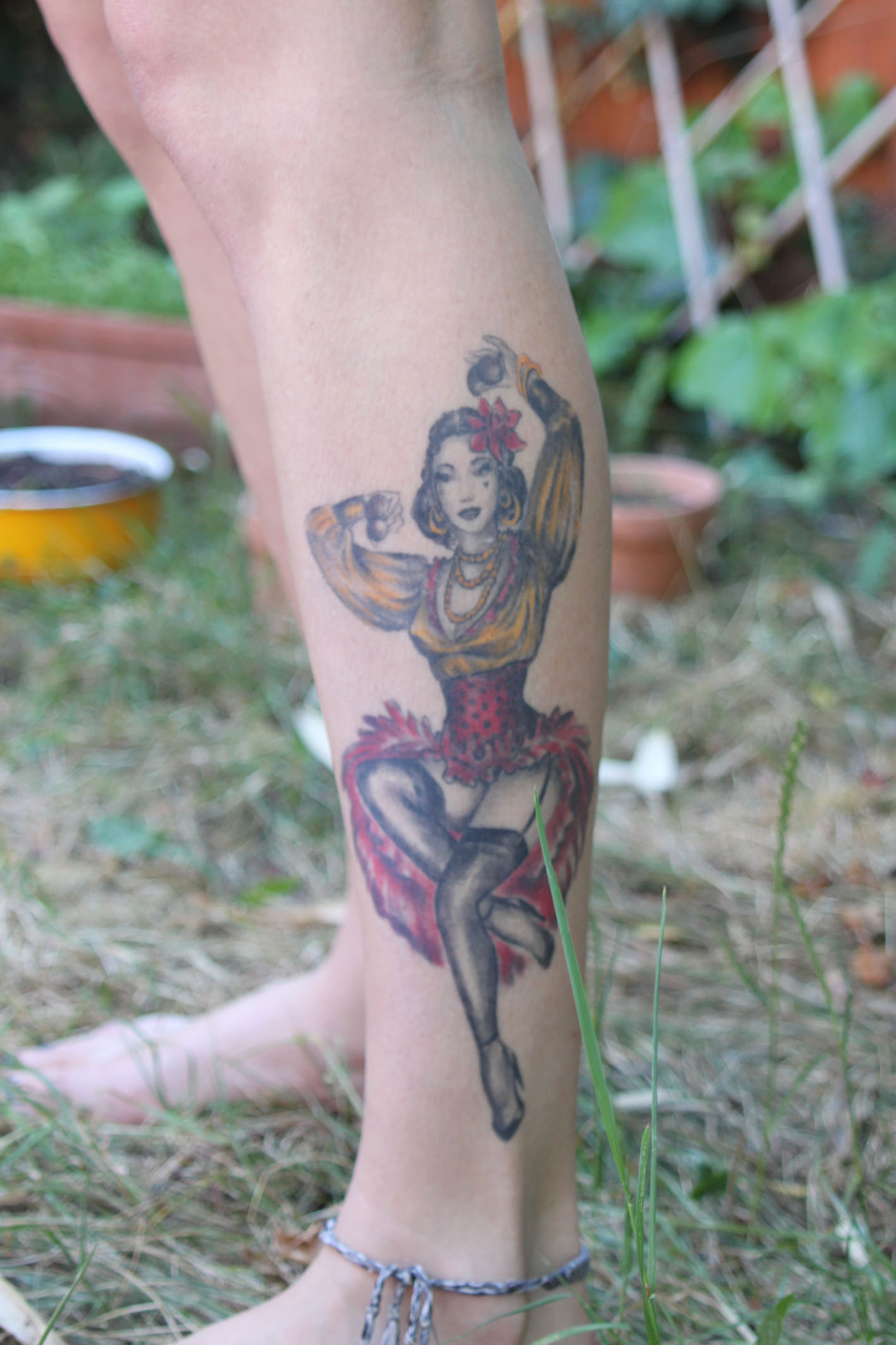 Dancer on leg