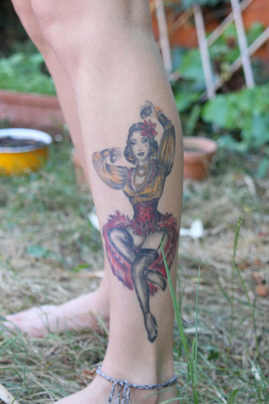 Dancer on leg