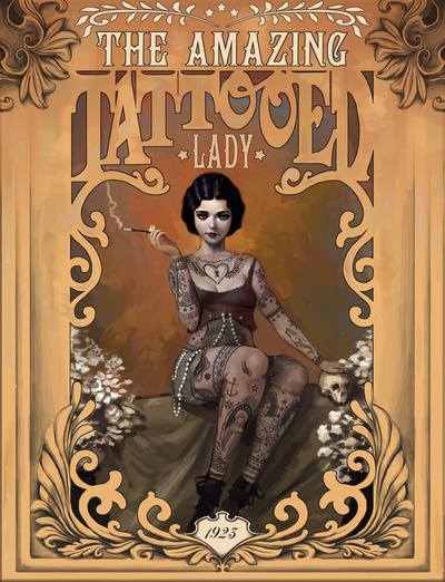The amazing tattooed Lady Rudy Faber