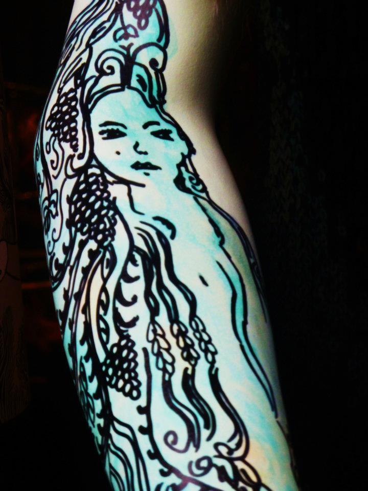 纹身的模特手臂
