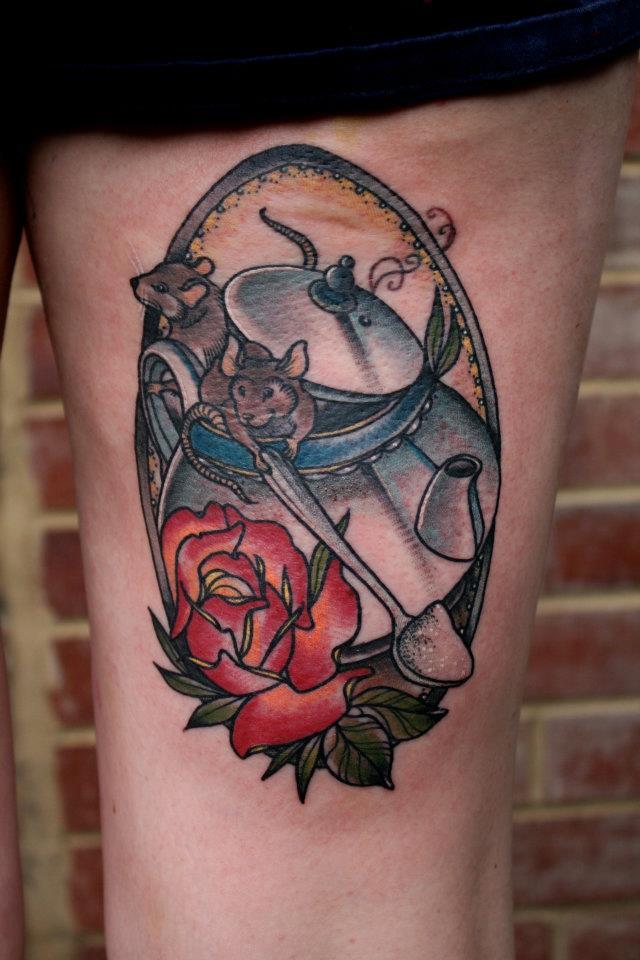 tea pot and mouse tattoo