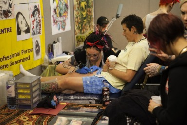 Tattooing at the Brighton Tattoo Convention